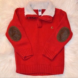 Baby Gap Red Knit Sweater Elbow Patches Size 2T